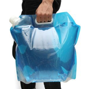 Stor sammenleggbar vannpose/vannbeholder med håndtak og skrukork, 5l, 10l